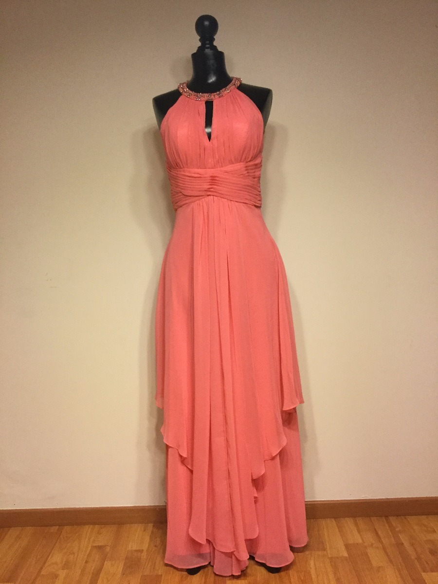 Vestido coral largo
