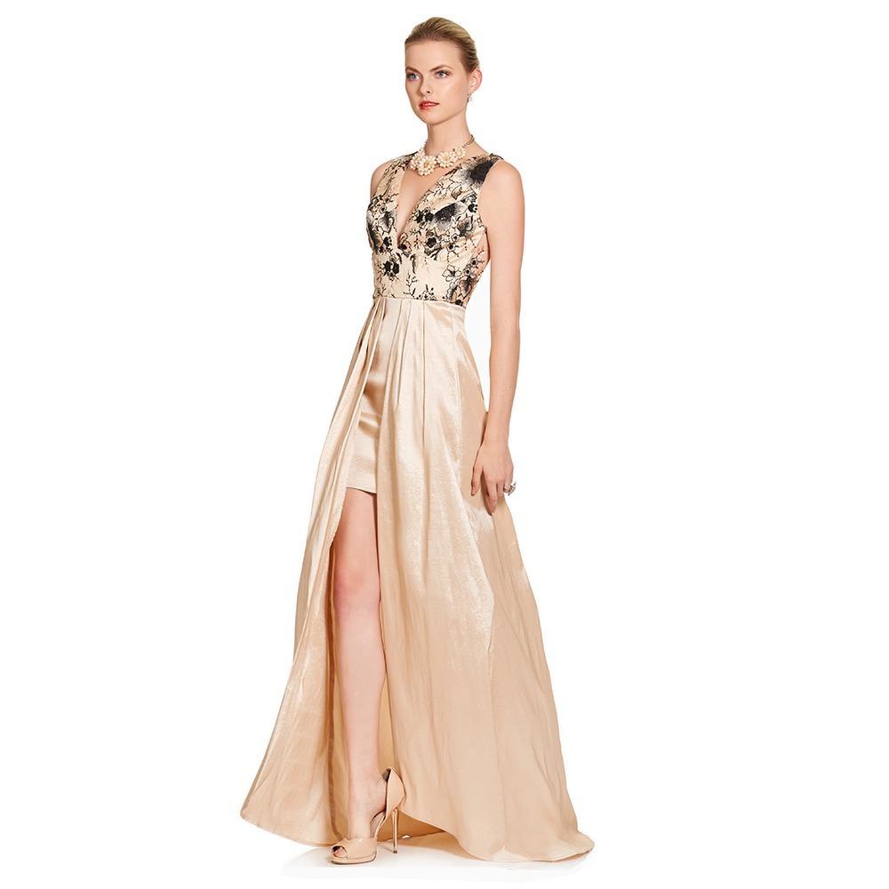 Vestido Largo Con Doble Falda Eva Brazzi