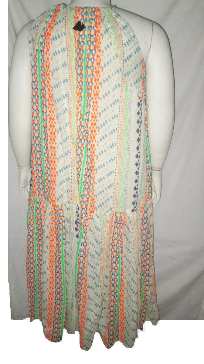 vestido largo crema naranja estampado talla 3x lane bryant. Cargando zoom. 2d9ff50f6375