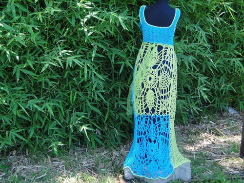 vestido largo crochet