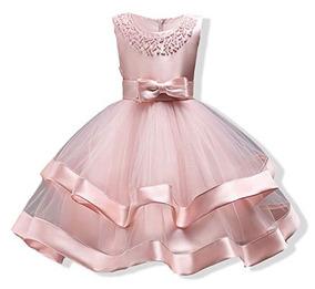 Vestido Largo Dama De Honor Fiesta Moño Encaje Para Niñas