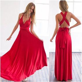 605cdfab03bb Vestido Largo Dama Multiforma Fiesta Boda Elegante Colores Rojo / Negro