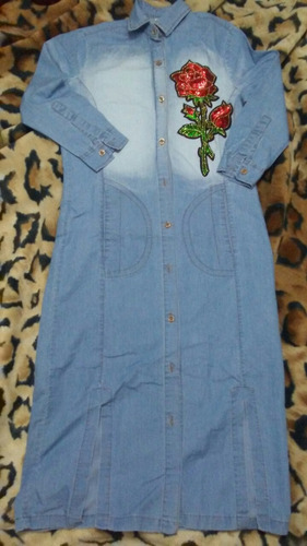 vestido largo de blue jeans bordado