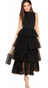 Vestido Largo De Dama Elegante Glamuroso Con Olánes En Tul