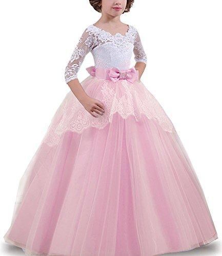 30ead9c69 Vestido Largo De Encaje Para Niñas Espalda Descubierta Rosa