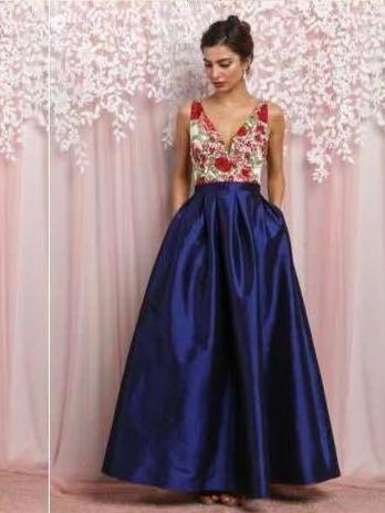 Vestido flores azul largo