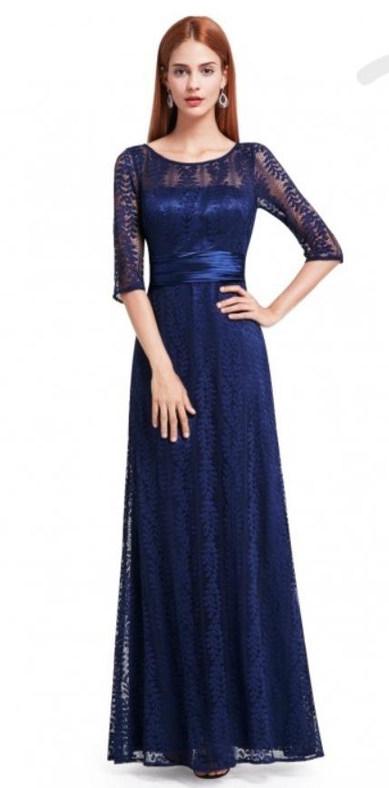 3aeeccf90 vestido largo de fiesta color azul marino de encaje t16. Cargando zoom.