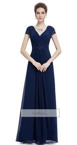 6c2aa9f95 Vestido Largo De Fiesta Color Azul Marino Talla 4