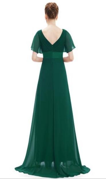 Vestido de gasa verde oscuro