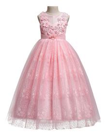 Vestido Largo De Fiesta Flores Para Niña Elegante