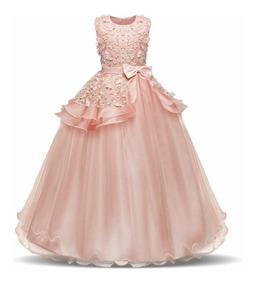 Vestido Largo De Fiesta Para Niña Elegante Primera Comunión