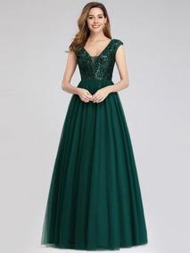 Vestido Largo De Fiesta Verde Esmeralda Lentejuela Sequin