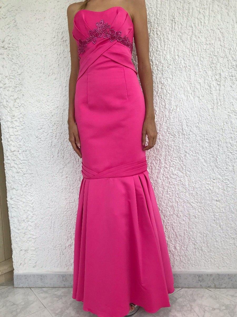 0fa34f882 Vestido Largo De Gala Fucsia Con Flores Corte Sirena Talla S - Bs ...