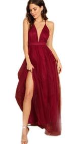 Vestido Largo De Noche Elegante Color Vino Vintage Maxi Dress Gasa Mesh Tira Spaguetti Envio