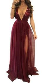Vestido Largo De Noche Elegante Fiesta Vino Lentej Con Envio