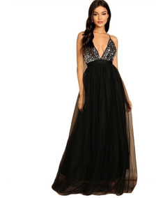 Vestido Largo De Noche Elegante Negro Lentejuela Plata Envio