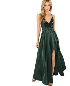 bfe4d6781527 Vestido Largo De Noche Elegante Verde Lentejuela Graduacion