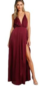 gran selección de 2019 diseñador nuevo y usado estilos clásicos Vestido Largo De Noche Elegante Vino Maxi Dress Abertura