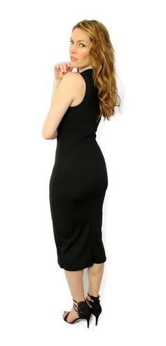 vestido largo de noche negro -holly fashion crystal