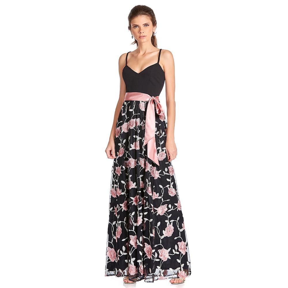 7172d341d vestido largo de tirantes falda flor con cintilla eva brazzi. Cargando zoom.