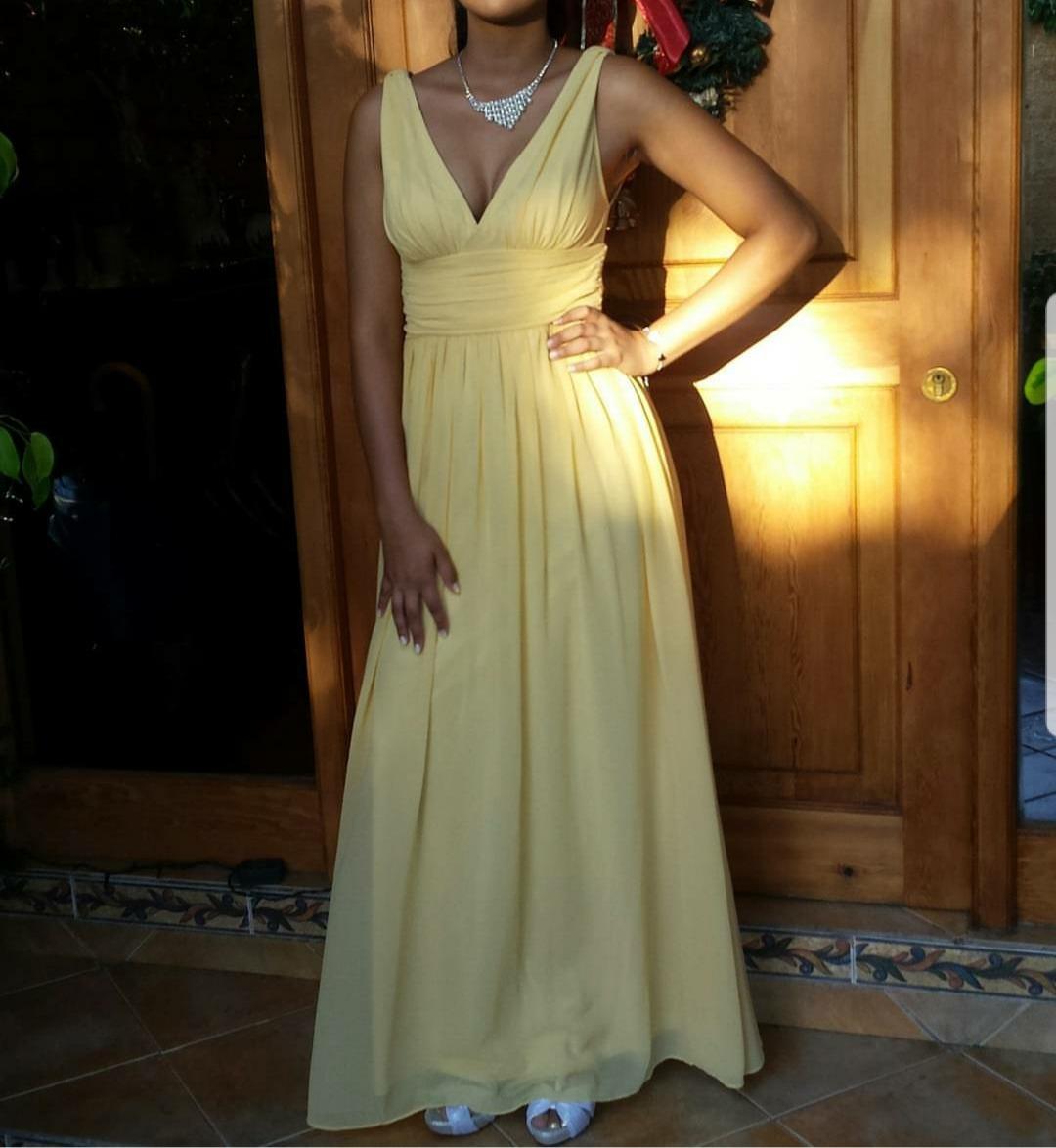 0ff07fdaa vestido largo elegante amarillo boda promoción fiesta cóctel. Cargando zoom.