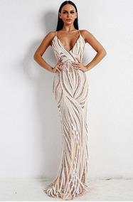 Vestido Largo Elegante Con Lentejuelas Ve37 Por Encargue