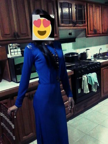 vestido largo elegante casual de fiesta economico ofeta azul