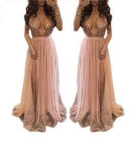 Vestido Largo Elegante Color Palo De Rosa Con Envío Gratis