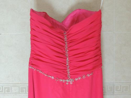 vestido largo elegante de noche escote corazon rosa talla 6