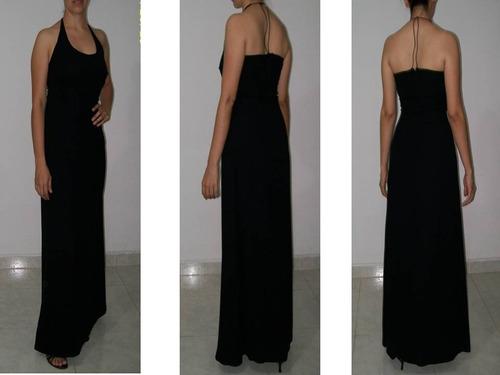 vestido largo elegante fiesta negro en chifon