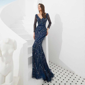 Vestido Para Noche Mexicana Vestidos De Mujer Largo Azul