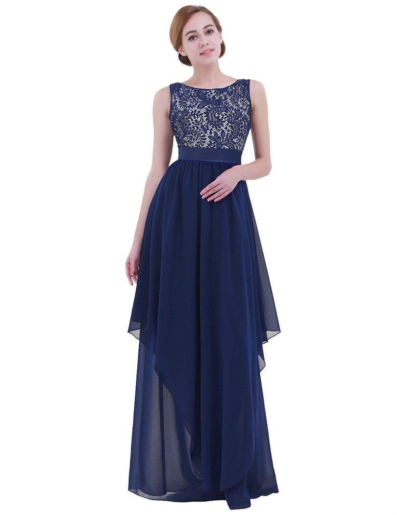 9d4174965 vestido largo elegante noche fiesta sin manga encaje chifon. Cargando zoom.