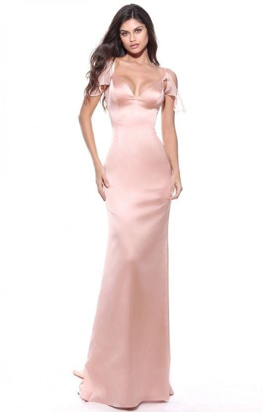 Vestido Largo Entallado Corte Sirena, Mangas Volados - $ 3.820,00 en ...