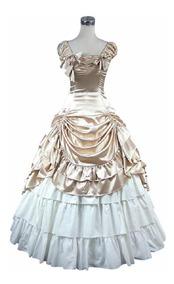 Vestido Largo época Victoriana Catrina Disfraz Halloween