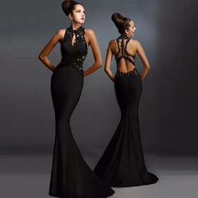e616f71ab3c5 Vestido Largo Escote Espalda Elegante Formal Fiesta Negro //