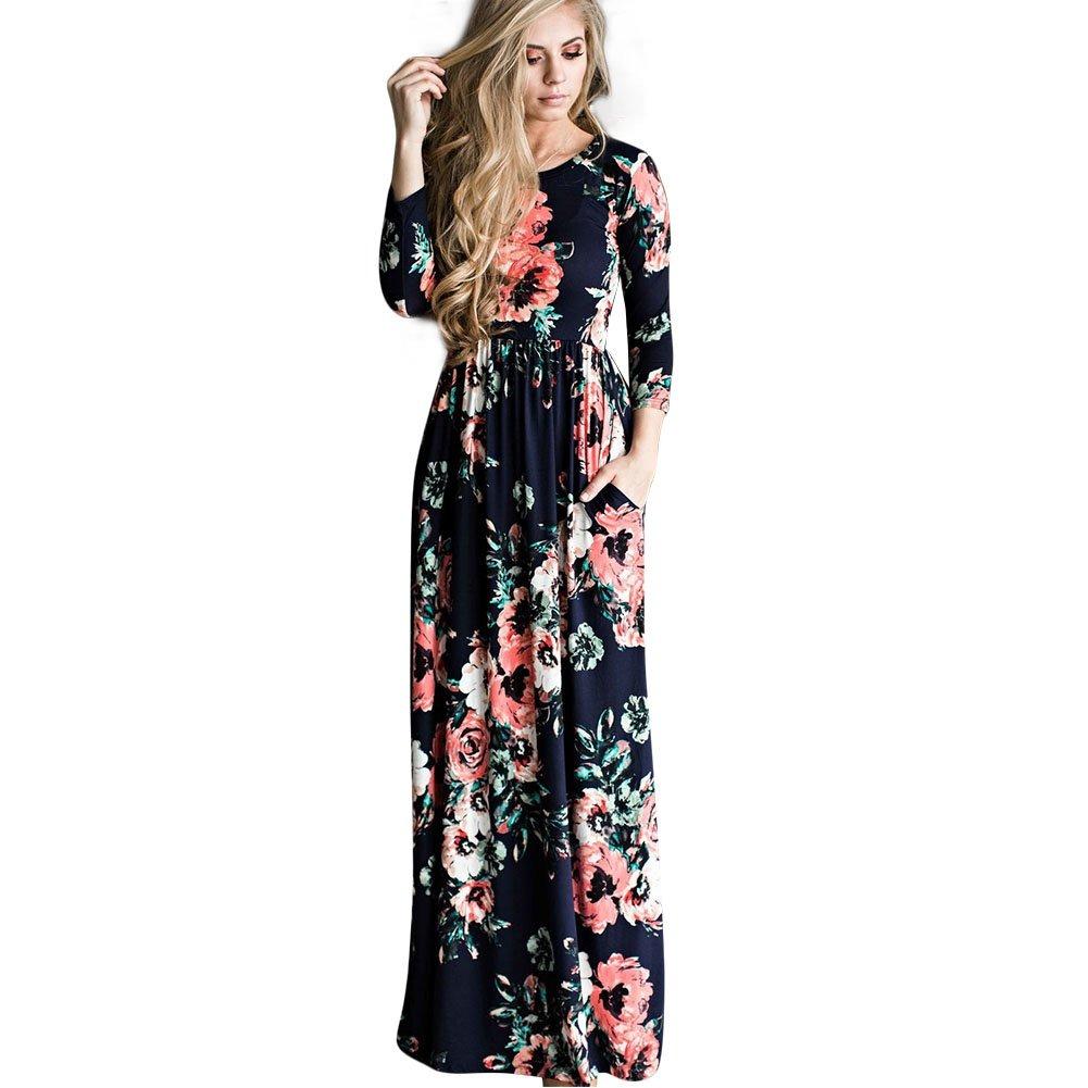 Vestido largo estampado manga larga