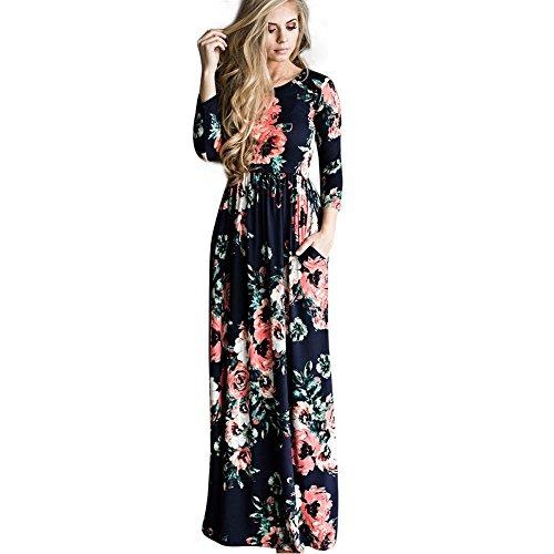 Vestido Largo Estampado Floral Con Manga Larga Y Estampad