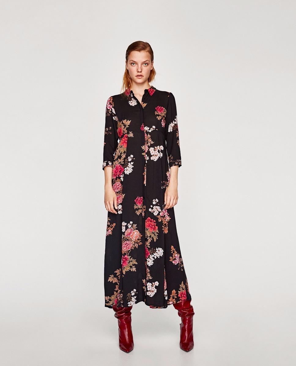 715a01c25 vestido largo estampado floral importado zara. Cargando zoom.