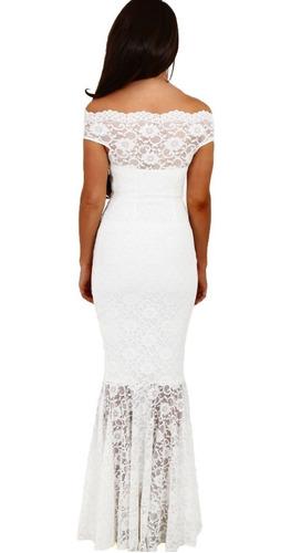 vestido largo fiesta blanco sirena  encaje ve 63