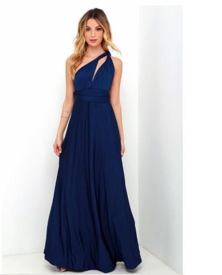 Vestido Largo Fiesta Dama De Honor Gala Convertible (azul