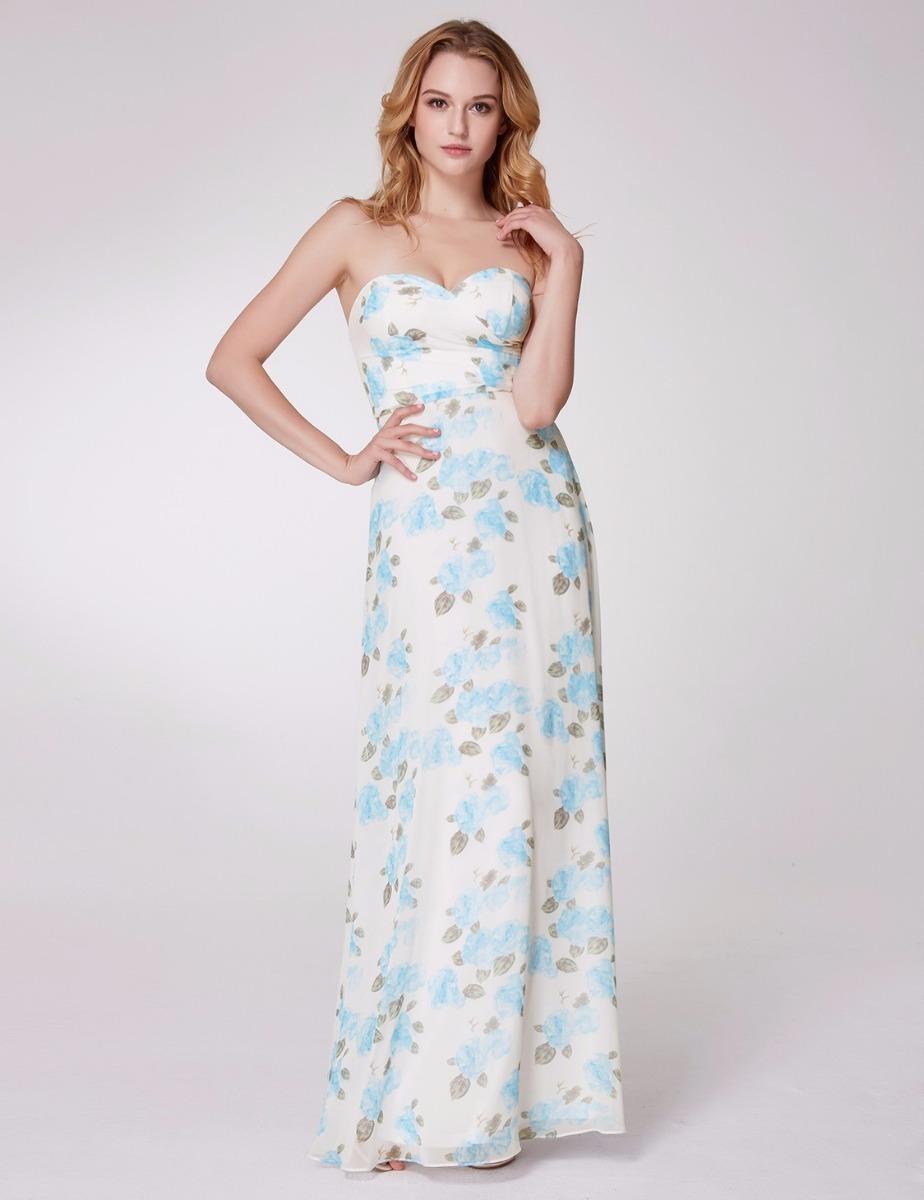 Vestido largo azul y blanco