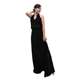 Vestido Largo Fiesta Gasa Negro- Crema Detalle Cadena