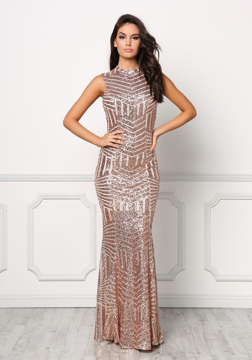 94f1744f1 vestido largo fiesta lentejuela rosa dorado escote elegante. Cargando zoom.