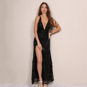 Vestido Largo Fiesta Noche Lentejuela Elegante Negro Sexy