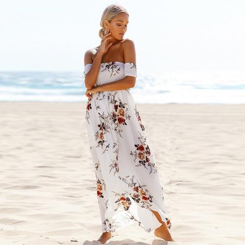 vestido largo floral con estampado estilo boho