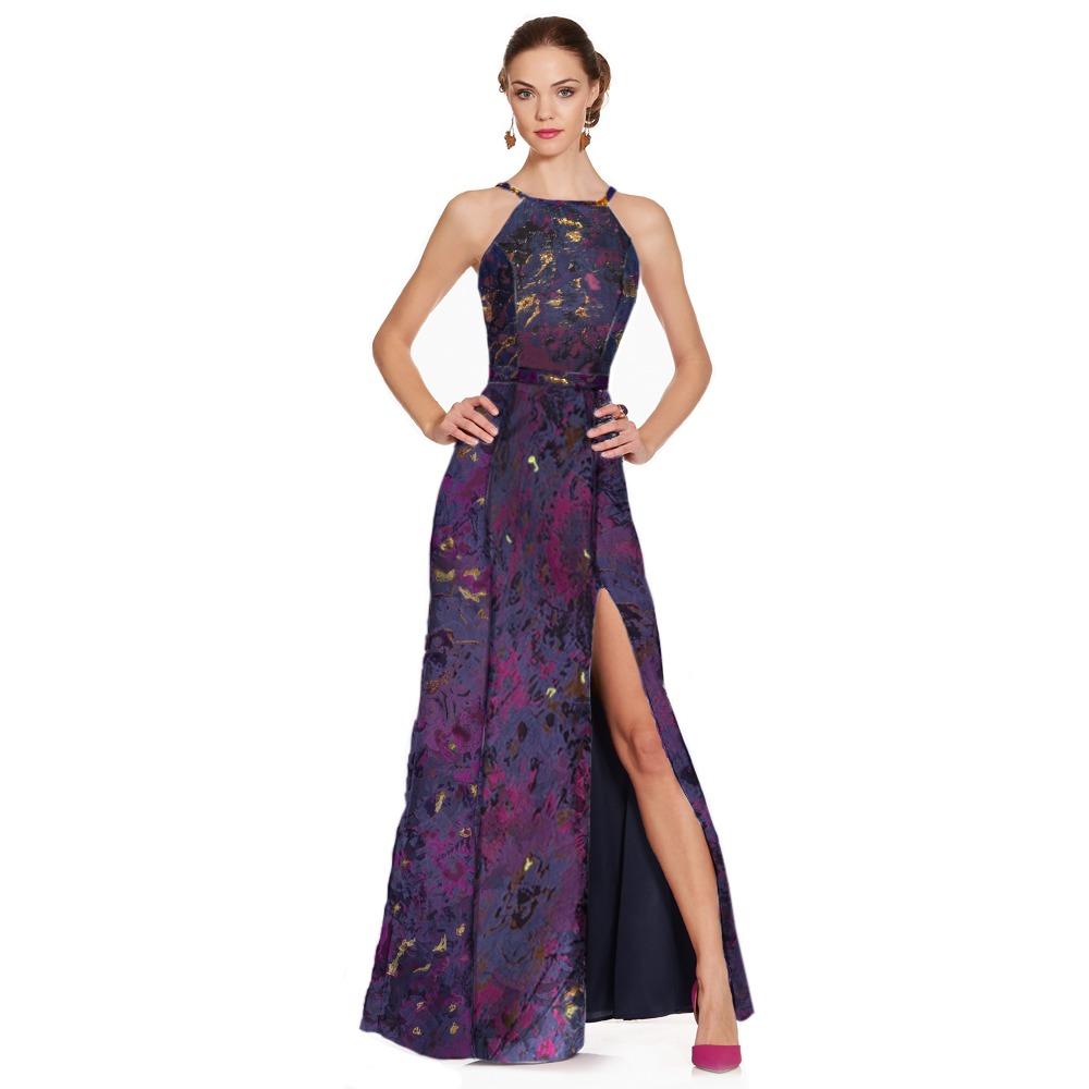 41275d4cd8 vestido largo floral halter con tirantes espalda eva brazzi. Cargando zoom.