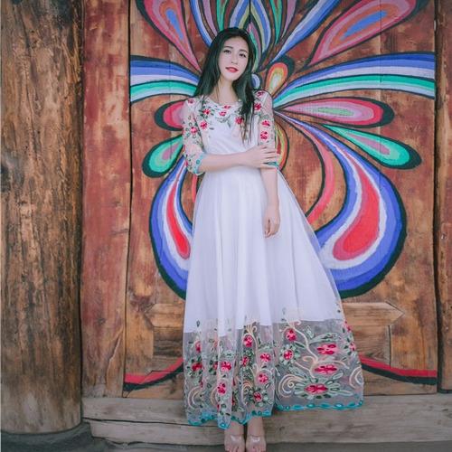 vestido largo floral vintage mori girl fairy princess lolita