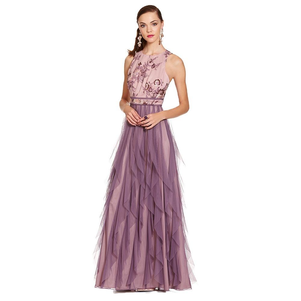 Vestido Largo Floral Y Escarolas Eva Brazzi