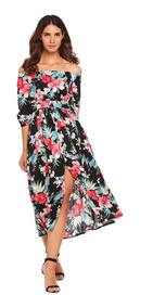 8683d3921 Vestido Largo Fuera Del Hombro Bohemia Floral Maxi Estampado