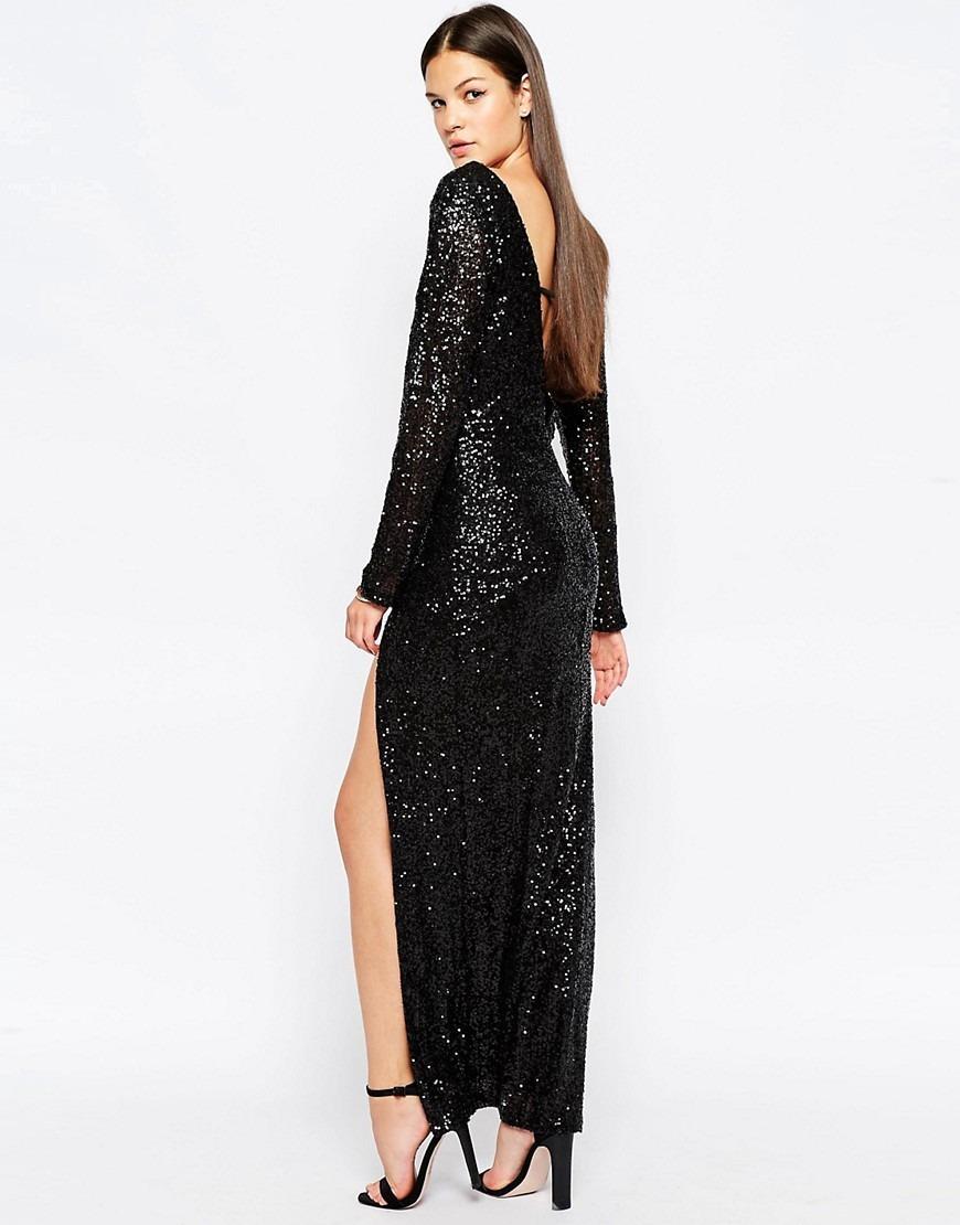Vestido Largo Lentejuelas Negro Escote En V Talla 36 O Xs